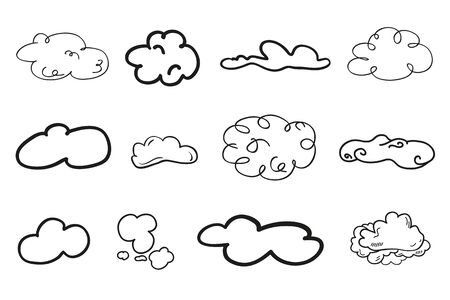 Clouds on isolated white background. Doodles on white. Hand drawn line art. Nature concept