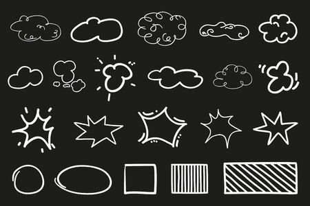 Elements on isolated black background. Abstract clouds. Geometric shape. Black and white illustration 일러스트