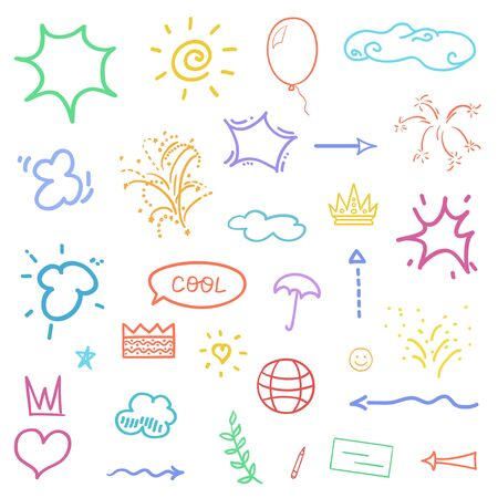 Hand drawn symbols and shapes. Colorful outlined elements on isolation background. Sketchy doodles on white 일러스트