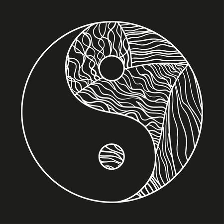Yin and Yang on black. Hand drawn circle synbol of balance on isolation background. Black and white illustration 일러스트