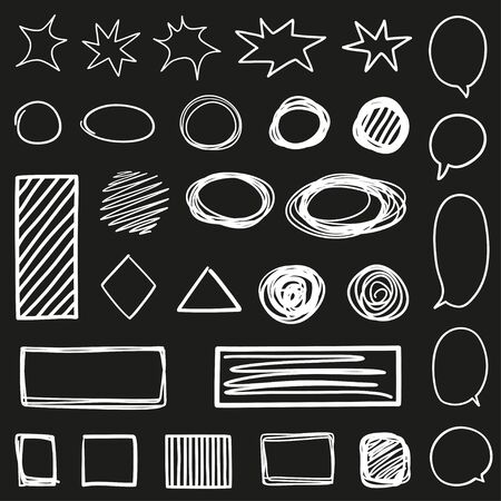 Abstract outlined shape. Hand drawn chaotic lines on isolated black background. Chaotic geometric shapes. Black and white illustration. Elements for your design