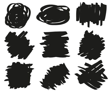 Hand drawn grunge smears. Set of different tangled backdrops. Different shapes for work. Black and white illustration 일러스트