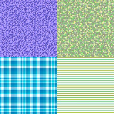 Set of seamless patterns. Simple colored background. Seamless geometric texture. Doodle for flyers, shirts and textiles