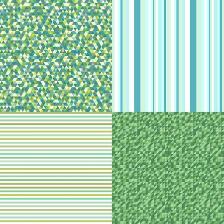 Set of seamless patterns. Simple colored background. Seamless geometric texture