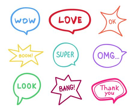 Simple speech bubble. Colored hand drawn think and talk speech bubbles. Doodles for business 일러스트