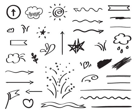 Infographic elements on isolated white background. Hand drawn simple arrows. Black and white illustration. Doodles for artwork