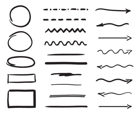 Hand drawn elements. Arrows. Set of different underlines. Abstract shapes. Black and white illustration
