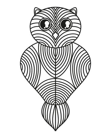 Owl on isolated white. Hand drawn outlined bird with abstract geometric patterns on isolation background. Design for spiritual relaxation for adults 일러스트