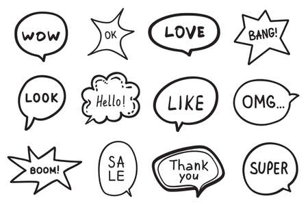 Hand drawn infographic elements on isolated background. Set of think and talk speech bubbles. Black and white illustration Illusztráció