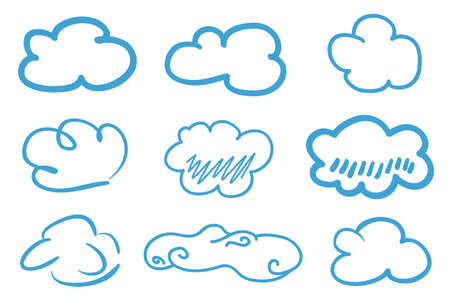 Colorful outlined cloud on isolated background. Sketchy doodles on white. Hand drawn clouds