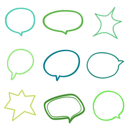 Speech bubble. Colored hand drawn think and talk speech bubbles