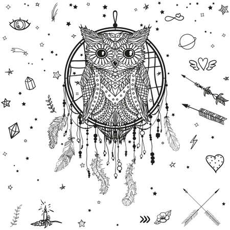 Dreamcatcher on white. Abstract owl sitting on dreamcatcher. Patterned bird. Line art creation. Black and white illustration