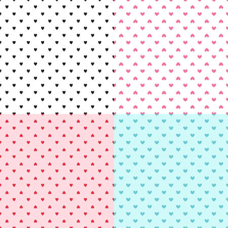 Set of backgrounds with abstract hearts. Seamless light wallpaper. Pattern for design Illusztráció
