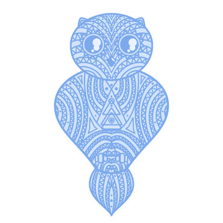 Geometric owl. Design. Detailed hand drawn ornate owl with abstract patterns on isolated background