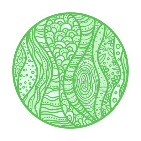 Circle colored pattern on white. Hand drawn mandala on isolated background