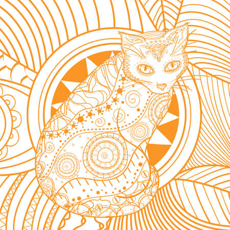 Square pattern with ornate cat. Hand drawn animal with abstract patterns. Design for spiritual relaxation for adults Illusztráció