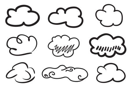 Clouds on isolation background. Doodles on white. Hand drawn line art. Black and white illustration. Nature concept Illusztráció