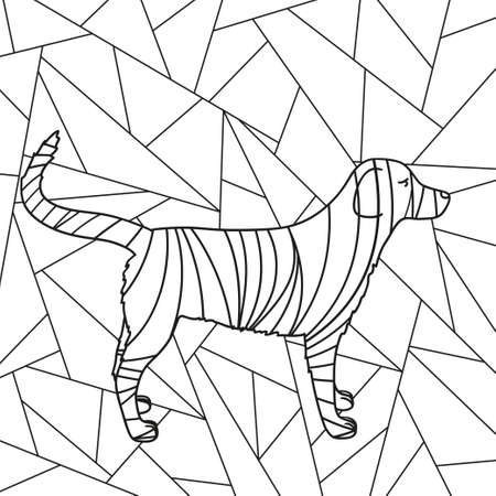 Abstract stained-glass window. Abstract dog. Design for spiritual relaxation for adults. Black and white illustration for coloring