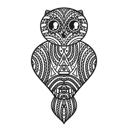 Owl on isolated white. Hand drawn outlined bird with abstract geometric patterns on isolation background Illusztráció