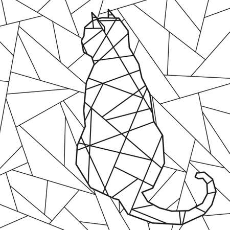 Abstract stained-glass window. Abstract cat. Design for spiritual relaxation for adults. Black and white illustration for coloring
