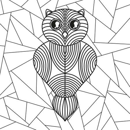 Square pattern with geometric owl. Stained-glass window. Geometric art