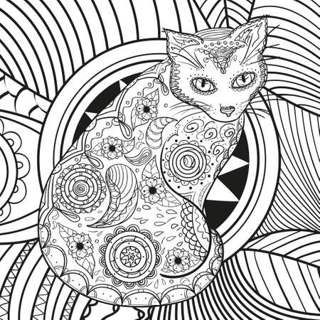 Cat on abstract square pattern. Hand drawn abstract patterns on isolation background. Black and white illustration for coloring