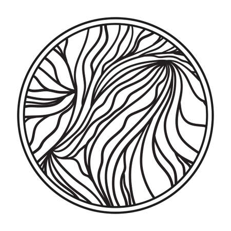 Circle background. Hand drawn lines. Monochrome waved pattern. Black and white illustration