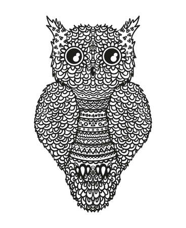 Owl on white. Detailed hand drawn bird with abstract patterns on isolated background. Design for spiritual relaxation for adults