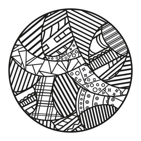 Abstract art. Zendala. Hand drawn circle mandala on isolated background. Black and white illustration