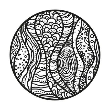 Zendala.  Hand drawn circle mandala with abstract patterns on isolated background. Design for spiritual relaxation for adults. Black and white illustration for coloring