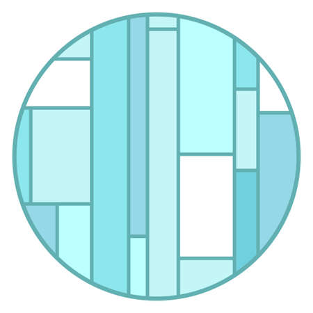 Colorful stained-glass window. Hand drawn circle pattern on isolation background. Geometric art