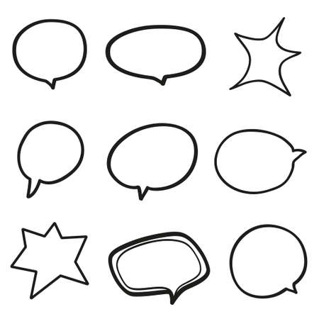 Set of hand drawn think and talk speech bubbles on white. Black and white illustration