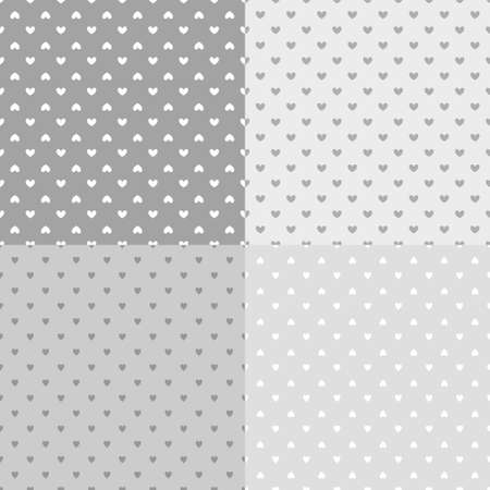 Set of backgrounds with hearts. Seamless monochrome wallpaper on surface. Black and white illustration
