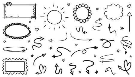 Infographic elements on isolated white background. Hand drawn simple signs and symbols. Line art. Black and white illustration. Doodles for artwork