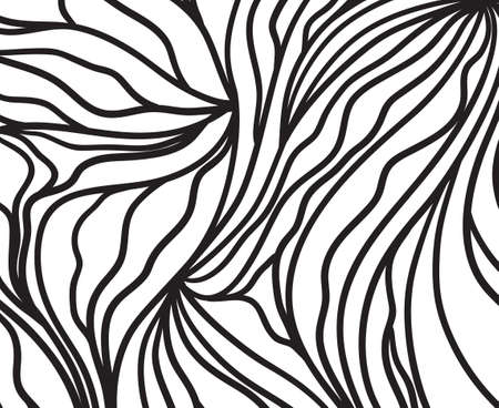 Abstract pattern with waves. Wavy background. Black and white wallpaper Vettoriali