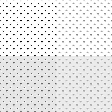 Set of backgrounds with hearts. Seamless monochrome wallpaper. Black and white illustration