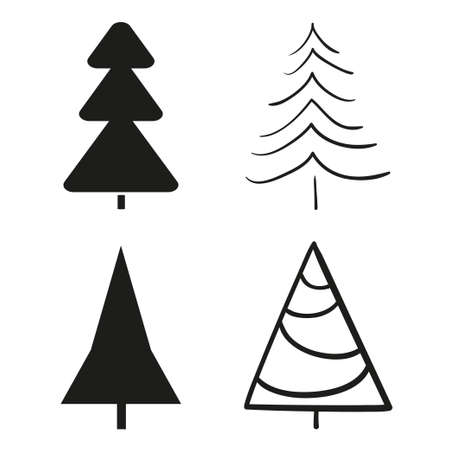 Christmas tree on white. Xmas elements. Black and white illustration
