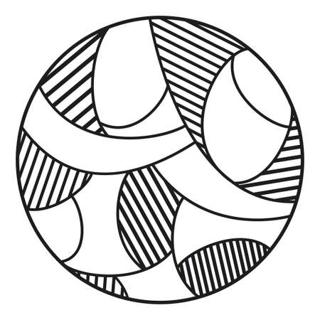 Hand drawn circle pattern. Abstraction. Black and white illustration Vettoriali