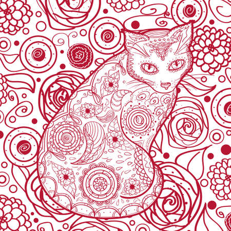 Square pattern with ornate cat. Hand drawn animal with abstract patterns Vettoriali