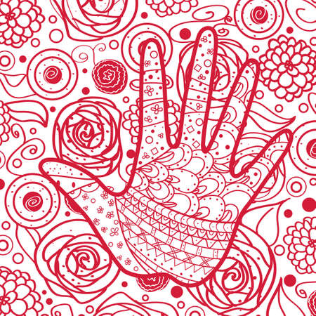 Square colorful pattern. Hand drawn mandala on isolated background. Hand art