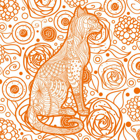 Square pattern on white. Ornate cat. Hand drawn animal with abstract patterns Vettoriali