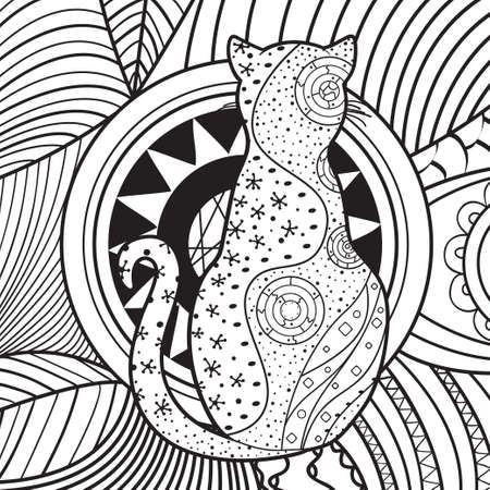 Square pattern on white.   Cat on abstract square shape. Hand drawn abstract cat. Black and white illustration for coloring