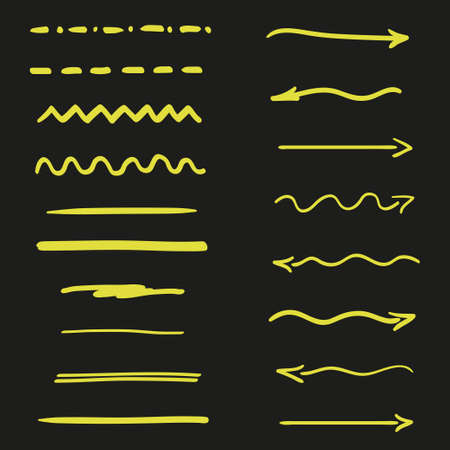 Abstract neon elements on isolated black background. Underlines and arrows. Hand drawn signs for design Vettoriali