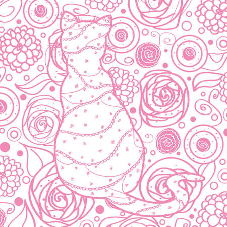 Square colored pattern on white. Hand drawn cat with abstract patterns on isolation background