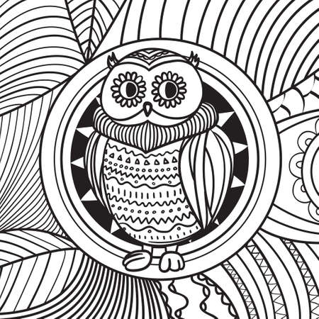 Square pattern with owl on white. Hand drawn mandala with abstract patterns on isolation background. Design for spiritual relaxation for adults Vettoriali
