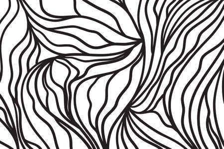 Wavy background. Hand drawn waves. Abstract waved pattern. Black and white illustration