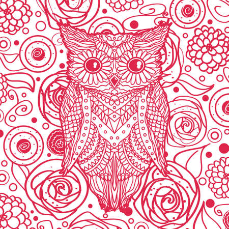 Square pattern on white.  Hand drawn owl with abstract patterns on isolated background