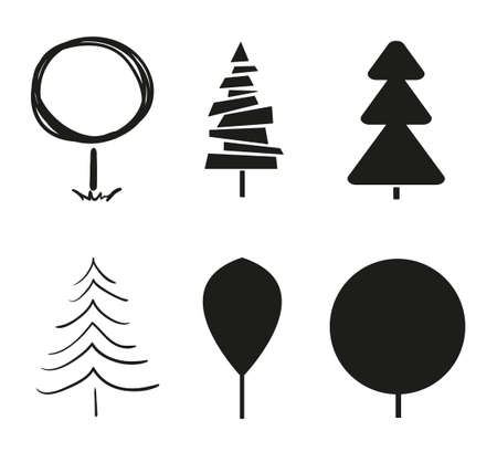 Trees on white. Set for icons on isolated background. Objects for polygraphy, posters, t-shirts and textiles. Black and white illustration
