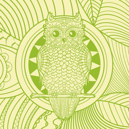 Square pattern. Abstract owl. Hand drawn mandala with abstract patterns