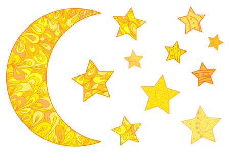 Colorful crescent moon with stars on white. Moon and stars with abstract patterns on isolated background